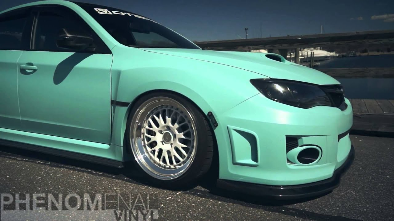 Modified Car Scene Phenomenal Vinyl Matte Mint Green Sti Youtube
