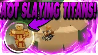 ATTACK ON TITAN REVENGE ROBLOX - FUNNY MOMENTS AND SLAYING TITANS !