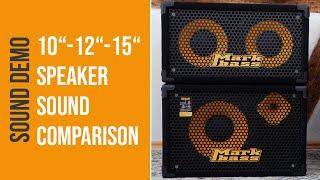 10, 12, 15 Bass Speaker Sound Comparison - Sound Demo (no talking)