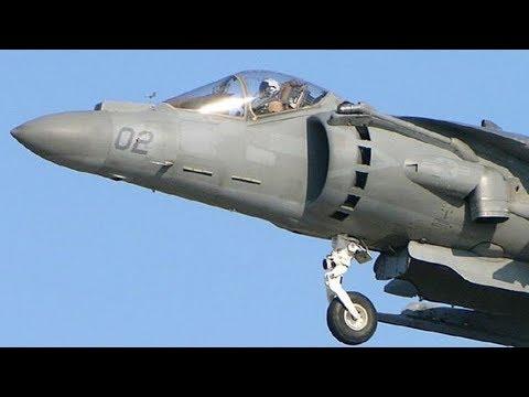 Jump Jet! PHENOMENAL sight & sound of an AV-8B HARRIER in a VERTICAL TAKEOFF & LANDING (VTOL).
