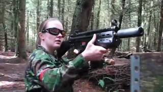 Airsoft War Girls in action AK47 M4 M14 M1A1 Section8 Scotland