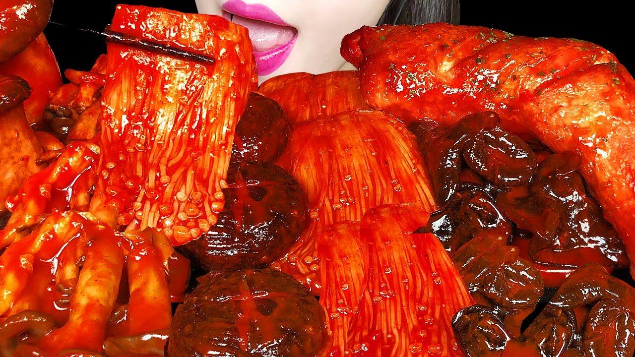 ASMR SPICY MUSHROOMS MUKBANG 버섯 먹방 CHICKEN 통다리 치킨 먹방 EATING SOUNDS NO TALKING