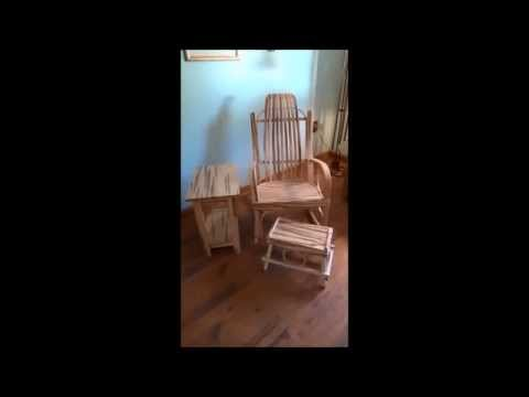 Wormy Maple Rocking Chair, Table and Foot Stool Set
