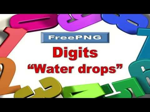 """PNG-images Digits """"Water Drops"""" / Цифры """"Капли воды"""" + Free Download"""