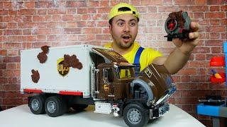 Çocuklar için eğitici video. Oyuncak kamyon paslandı. Oyuncak arabalar ile oyunlar.