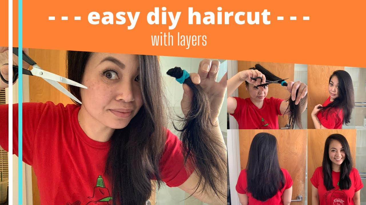 How To Cut Your Own Hair With Layers Diy Haircut Tutorial Youtube