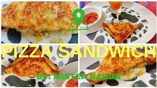 BREAD PIZZA SANDWICH ON GAS || CHEESE SANDWICH RECIPE || EASY PIZZA SANDWICH RECIPE || MISTER BAGGA