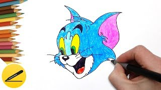 How to Draw Tom Cat (Tom and Jerry) Step by Step - Drawing for Kids