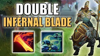 Weird Infernal Blade Mechanics Abuse [Double Hit = Full HP Burn] Dota 2 Ability Draft