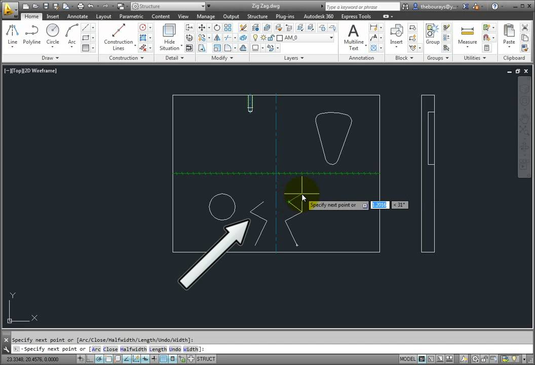 Drawing Lines In Cad : Drawing zig zag and symmetrical lines youtube