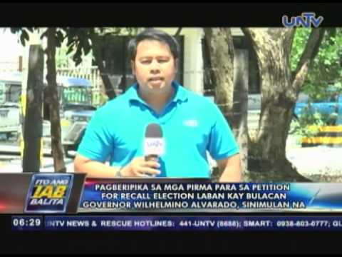 Pagberipika sa mga pirma sa petition for recall election vs Bulacan Gov. Alvarado, sinimulan na
