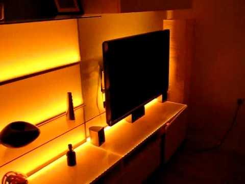 wohnwand mit 15m led strips digital rgb teil 2 youtube. Black Bedroom Furniture Sets. Home Design Ideas