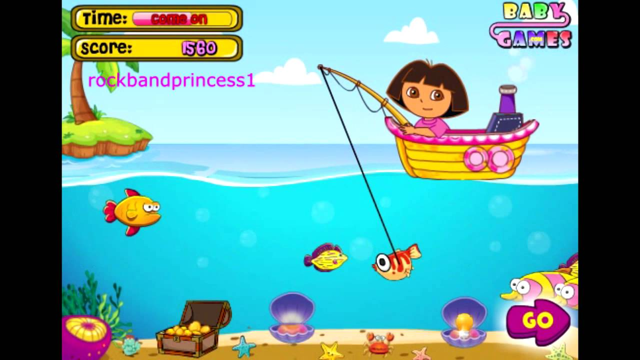 Dora the explorer online games dora goes fishing game full for Fishing games free