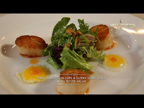 Hell's Kitchen at Home #1 – Pan Seared Scallops & Sunny Quail Eggs with Petite Salad by Chef Juna