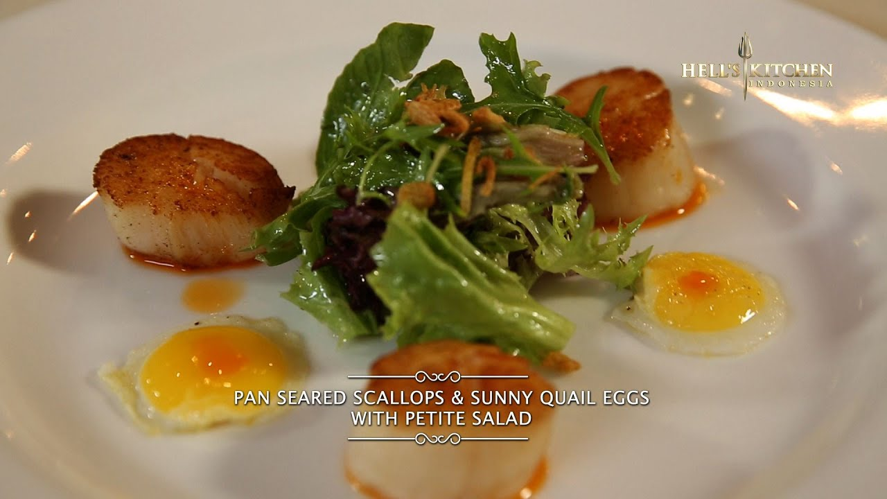 Hell\'s Kitchen at Home #1 - Pan Seared Scallops & Sunny Quail Eggs ...