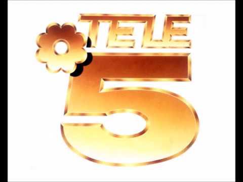 Primer logotipo de Telecinco, la palabra TELE sobre un 5 dorado