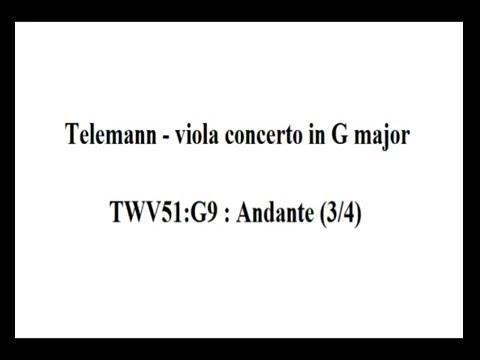Telemann - viola concerto - Andante (3/4) Sheet music / partitions