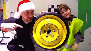 Pretend Play Wheel Went Down | Ride on Power Wheel Race Car | Fixing Wheel at the service station