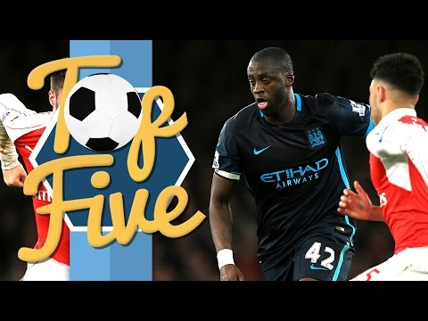 TOP 5 MAN CITY LEAGUE GOALS AWAY AT ARSENAL
