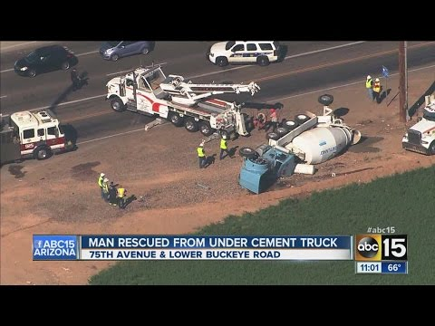 Man rescued from cement truck