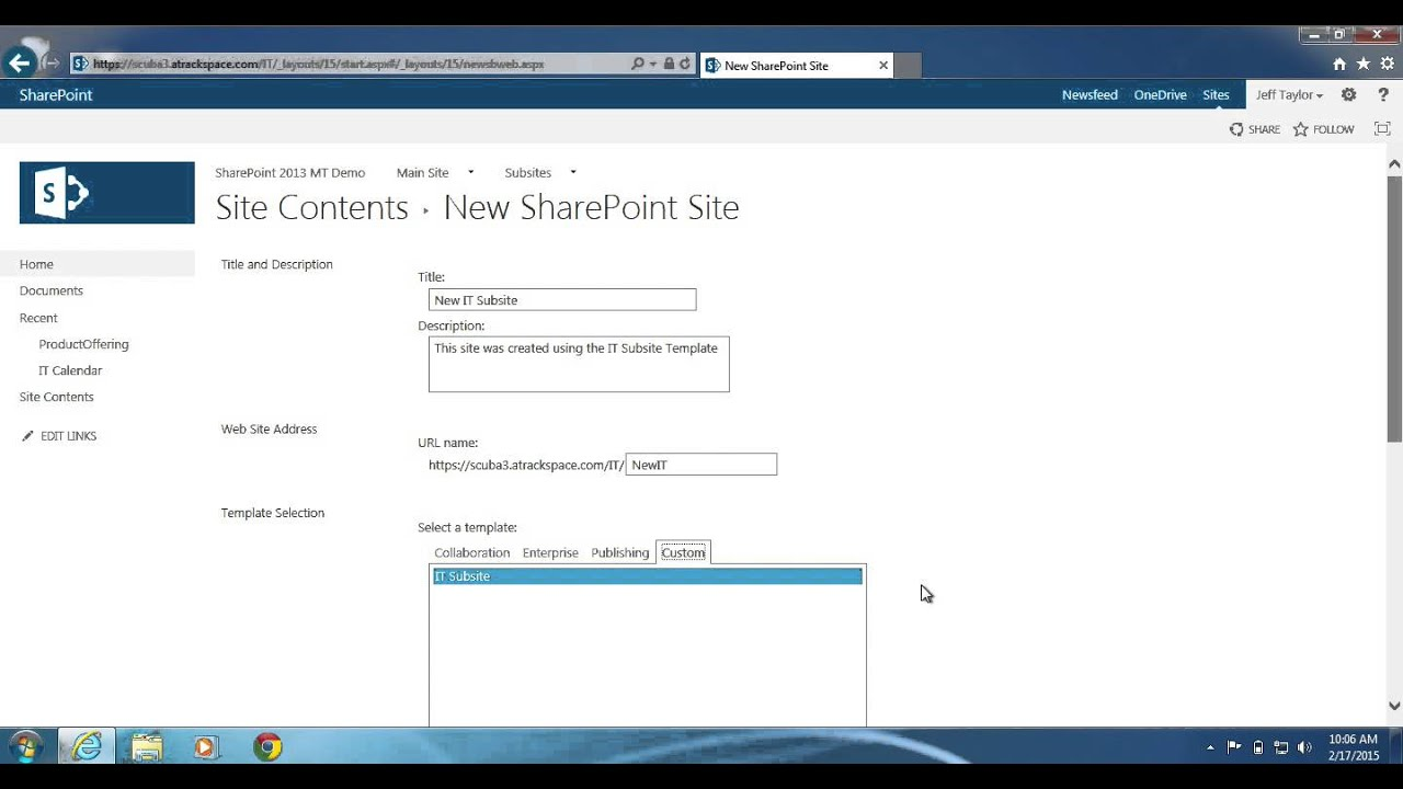 SharePoint 2013: How to create a site with a site template - YouTube