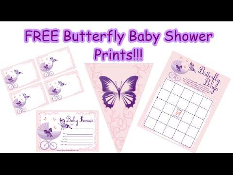 Amazing Purple Butterfly Baby Shower Print Set!   YouTube