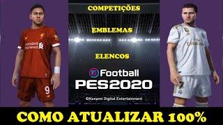 PES20 - COMO ATUALIZAR O SEU JOGO 100% - TODOS TIMES - CAMPEONATOS - ELENCOS.