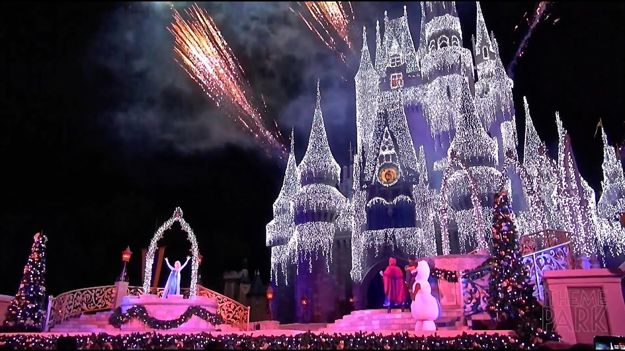 a frozen holiday wish 2014 cinderella castle christmas lighting at the magic kingdom disney world youtube