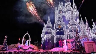 'A Frozen Holiday Wish' 2014 Cinderella Castle Christmas Lighting at the Magic Kingdom Disney World
