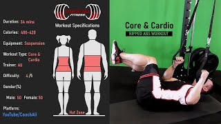 Suspension Training Abs Workout with Cardio For Six Pack Development