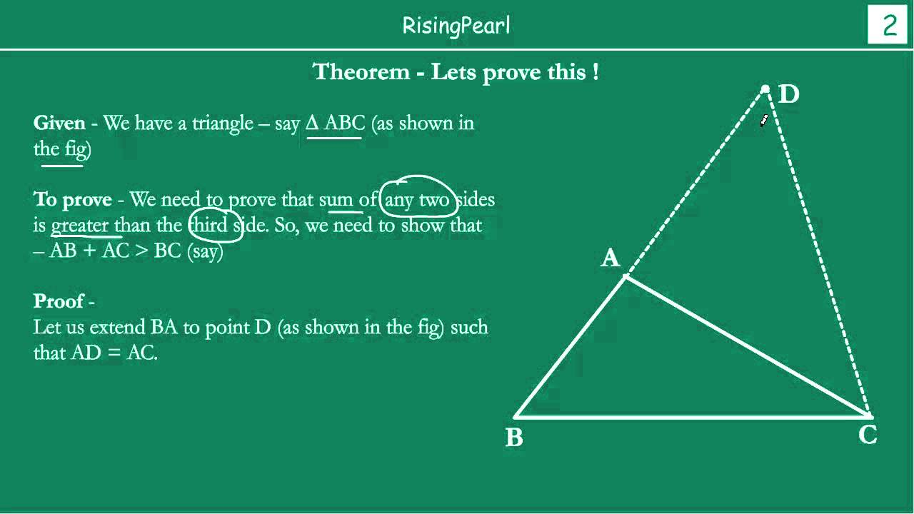 Sum of any two sides of a triangle is greater than the ...
