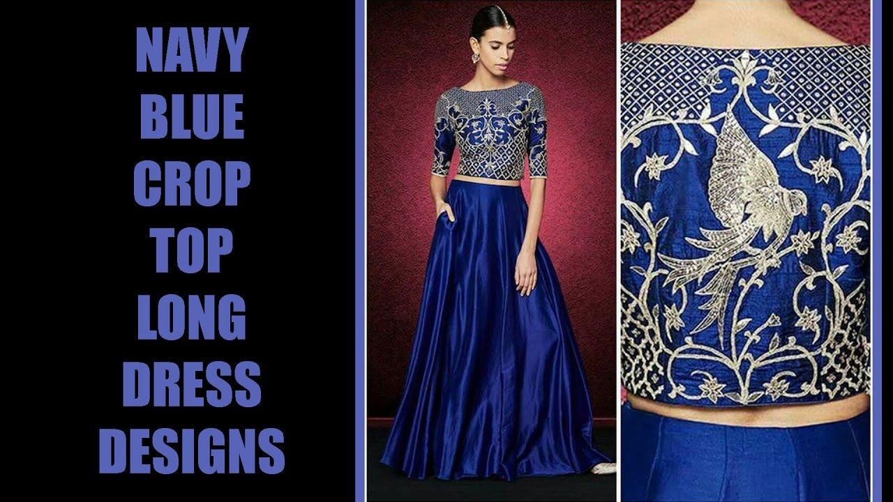 Navy Blue Long Crop Top Dress Designs