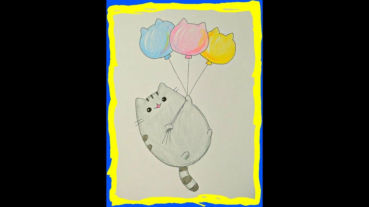 Как рисовать кота с пончиком