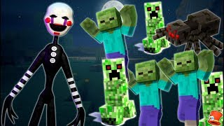 PUPPET MASTER vs ARMY OF MOBS IN MINECRAFT! (RedHatter FNAF Minecraft)