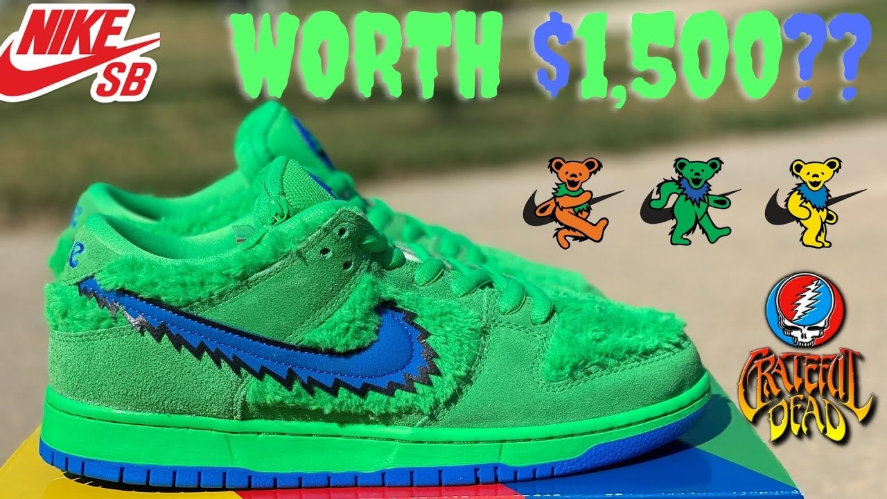 """NIKE SB DUNK """"GRATEFUL DEAD""""  BEARS GREEN REVIEW!!! ARE THESE WORTH $1,500???"""