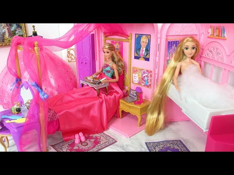 Princess Barbie Rapunzel Pink Room Morning Routine غرفة نوم باربي رابونزيل Barbie rosa Quarto