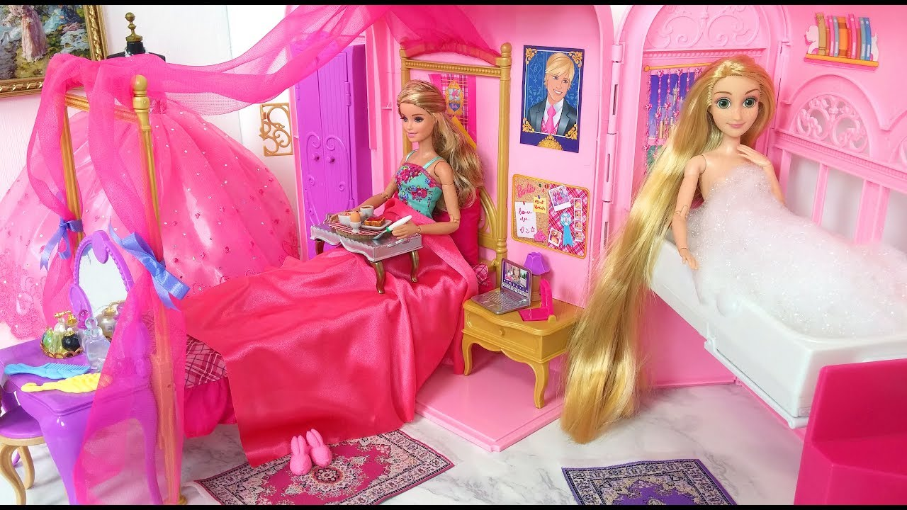 Princess Barbie Rapunzel Pink Room Morning Routine غرفة