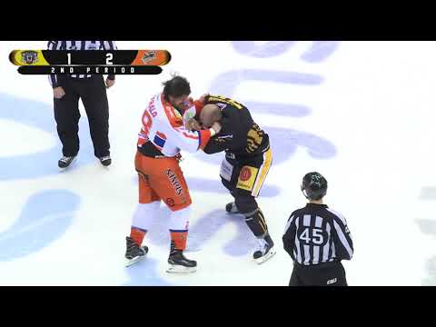 Mathieu Gagnon vs Zack FitzGerald Rd 1 and 2 - EIHL fights 7-10-17