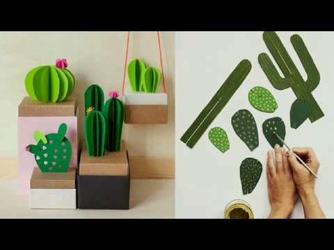 DIY Paper Cactus 🌵 DIY 3D PAPER CACTUS (ORIGAMI) EASY TO DECOR ANY SPACE | room decor 2018