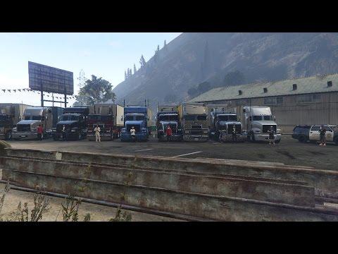 Convoy de Camiones en GTA V! Cruzando las Montañas   Grand Theft Auto V Online