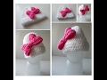 Baby Girl Hat - White Beanie with Hot Pink Bow - Handmade