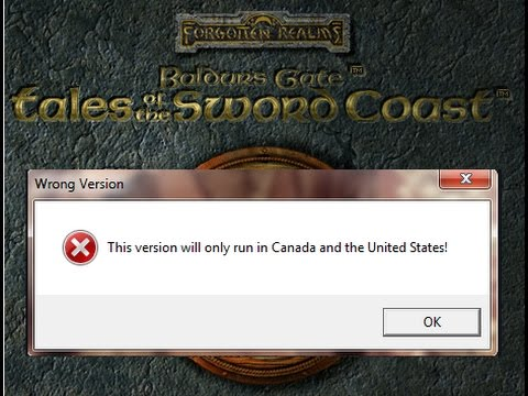 Tales Of The Sword Coast Cd Error This Version Will Only Run In