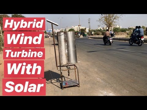 highway road Wind Turbine with solar