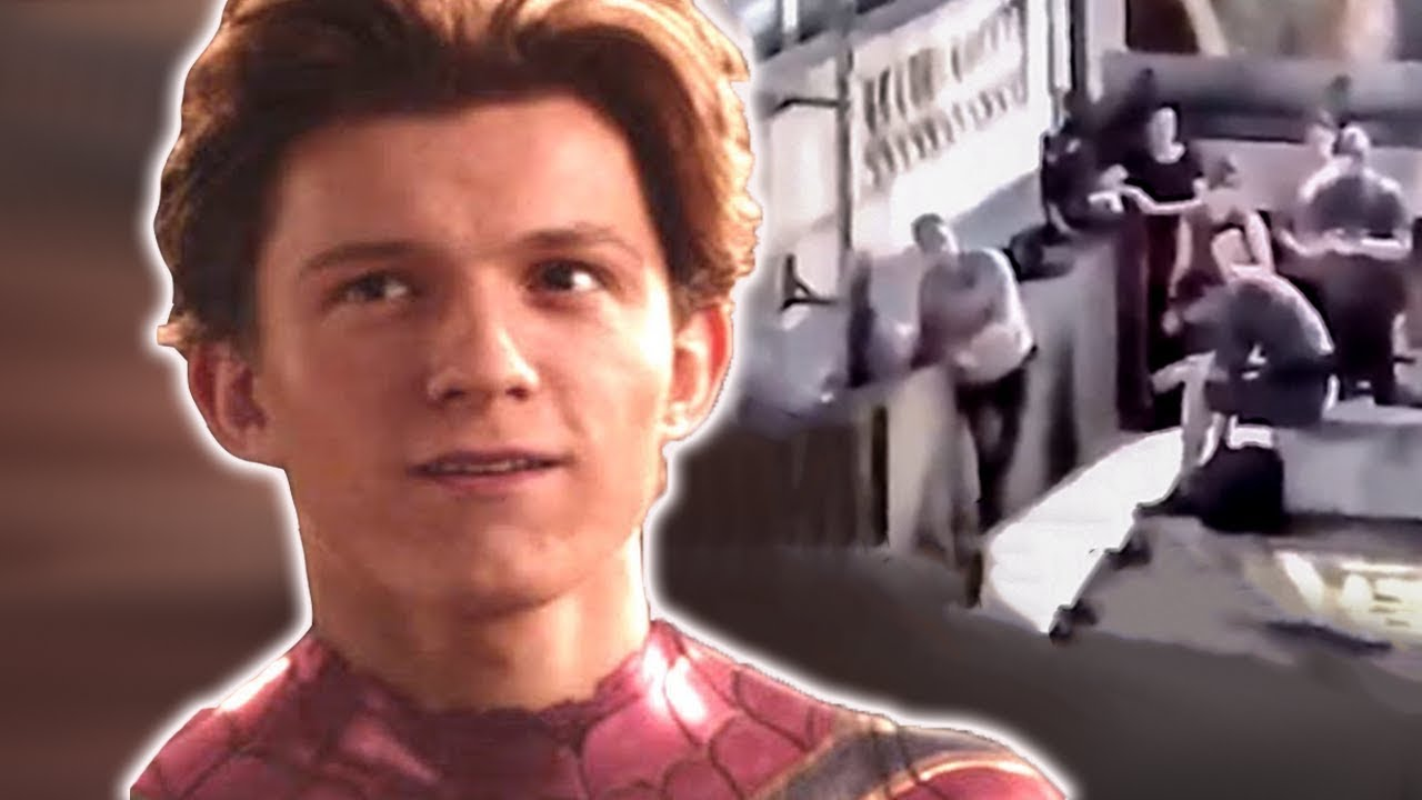 leaked footage spider-man far from home set - iron man dead?! - youtube