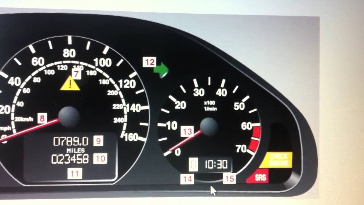 Mercedes e class w210 dashboard warning lights 7 symbols for Mercedes benz dashboard lights not working