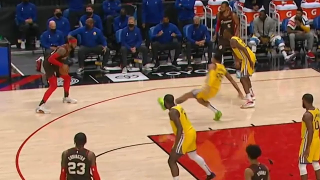 Juan Toscano-Anderson goes flying after making contact with Carmelo Anthony
