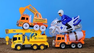 Reviews Car Toy - Crane Truck ,Motorcycles police, Car Cement Truck and crocodiles