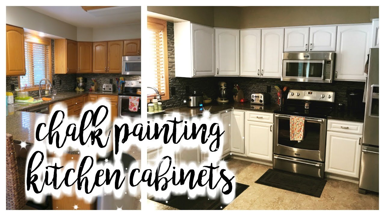 how i chalk painted my kitchen cabinets youtube