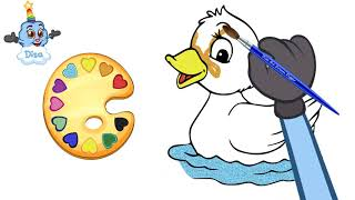 Five little Ducks Song - (Golden Duck Swimming) - Drawing and Coloring for Kids