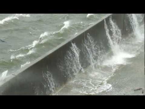 Hurricane Gustav - Water laps over Industrial Canal in New Orleans - September 1, 2008